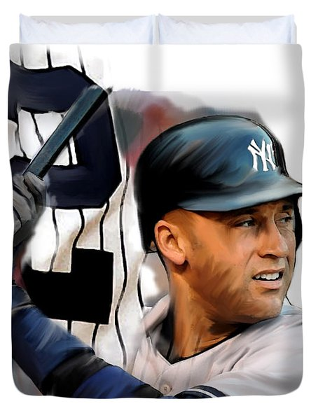Jeter II  Derek Jeter Duvet Cover by Iconic Images Art Gallery David Pucciarelli