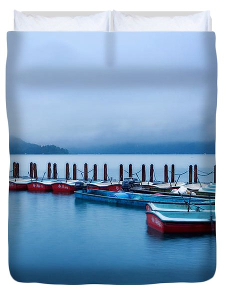 Jetty At Sun Moon Lake Duvet Cover