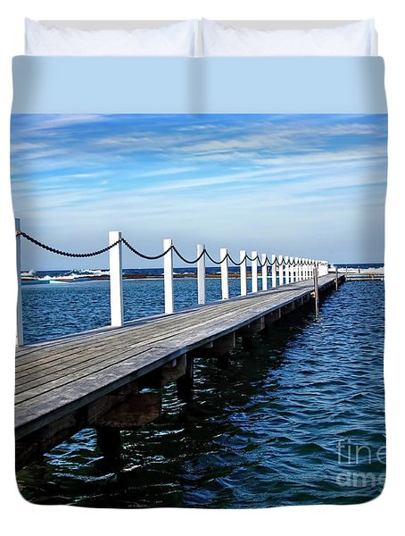 Jetty Stretching To The Ocean Duvet Cover by Kaye Menner