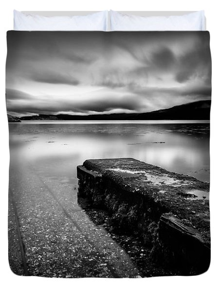 Jetty To Castle Stalker Duvet Cover by Dave Bowman