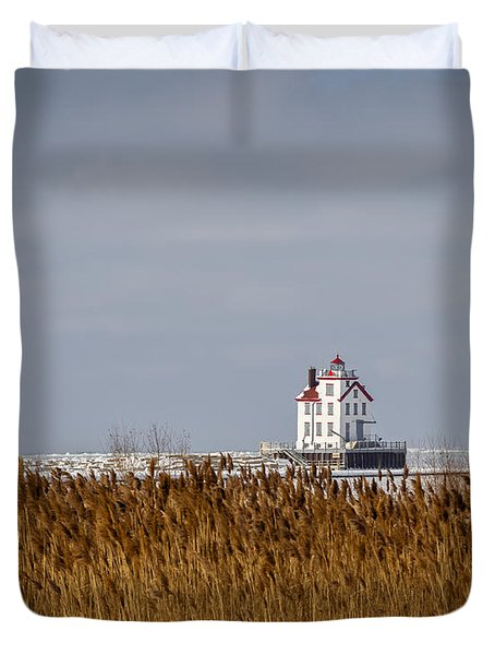 jewel of the Port Lorain Lighthouse Duvet Cover