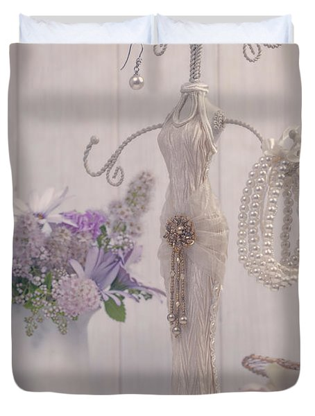 Jewellery And Pearls Duvet Cover by Amanda Elwell