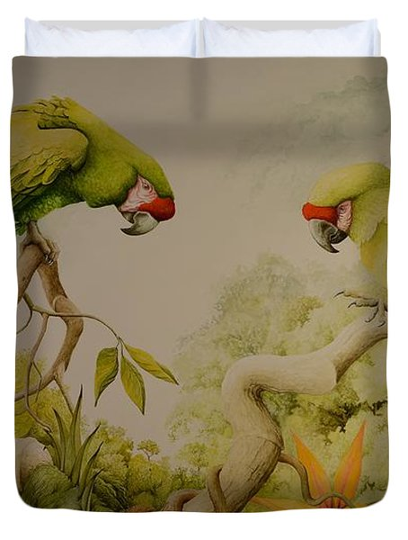 Jewels Of The Rain Forest  Military Macaws Duvet Cover