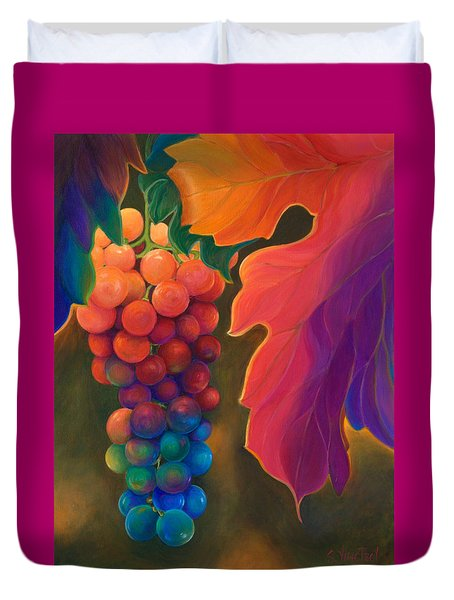 Duvet Cover featuring the painting Jewels Of The Vine by Sandi Whetzel