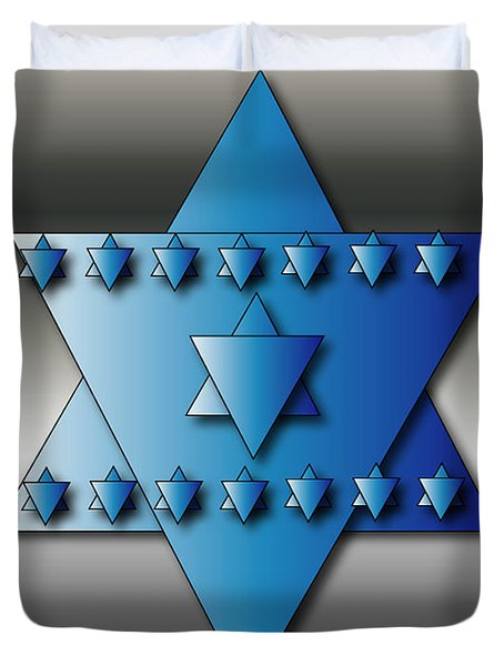 Duvet Cover featuring the digital art Jewish Stars by Marvin Blaine
