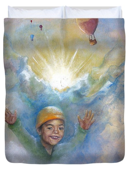 Jhonan And The Hot Air Balloons Duvet Cover