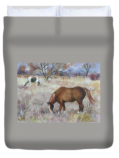 Jill's Horses On A November Day Duvet Cover