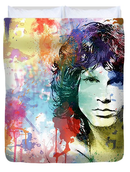 Duvet Cover featuring the digital art Jim Morrison by Patricia Lintner