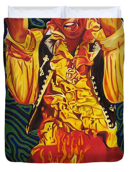 Jimi Hendrix Fire Duvet Cover by Joshua Morton