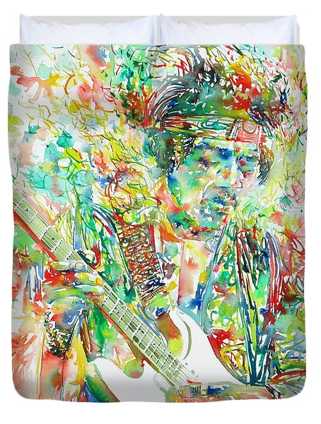 Jimi Hendrix Playing The Guitar Portrait.1 Duvet Cover