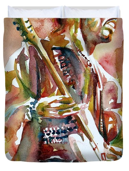 Jimi Hendrix Playing The Guitar Portrait.3 Duvet Cover