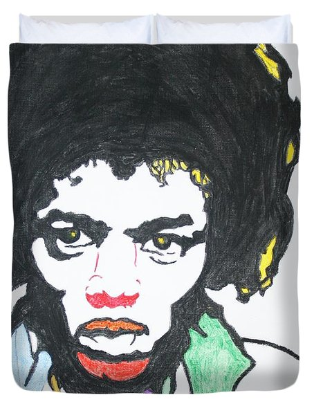 Duvet Cover featuring the painting Jimi Hendrix by Stormm Bradshaw