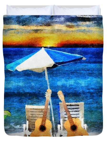 Jimmy Buffett Paradise Duvet Cover