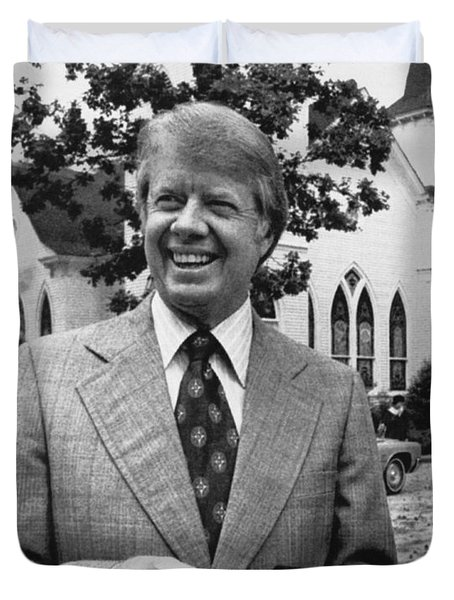 Jimmy Carter Holding His Bible Duvet Cover