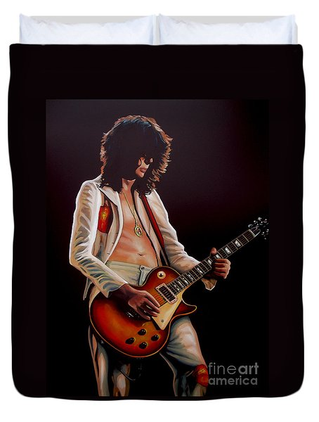 Jimmy Page In Led Zeppelin Painting Duvet Cover by Paul Meijering