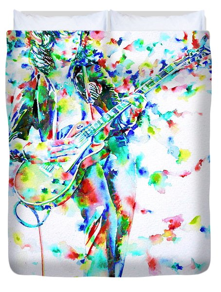 Jimmy Page Playing The Guitar - Watercolor Portrait Duvet Cover by Fabrizio Cassetta
