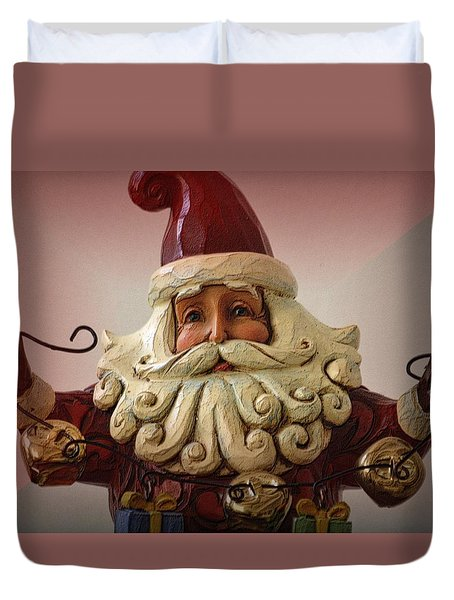 Duvet Cover featuring the photograph Jingle Bell Santa by Nadalyn Larsen