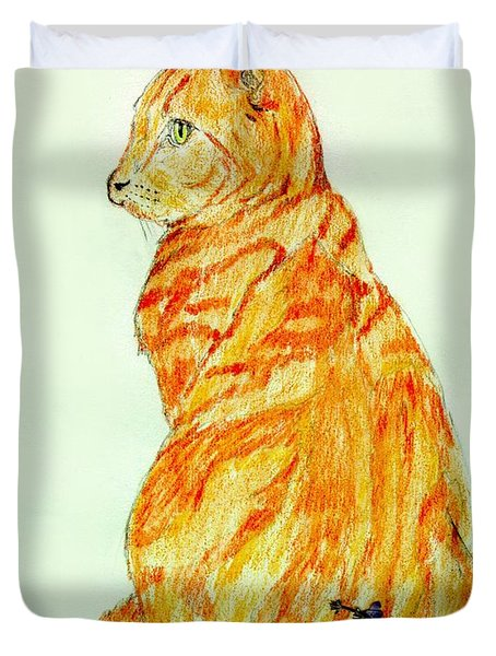 Duvet Cover featuring the drawing Jinj by Stephanie Grant