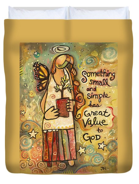 Someting Small Inspirational Art Duvet Cover by Jen Norton