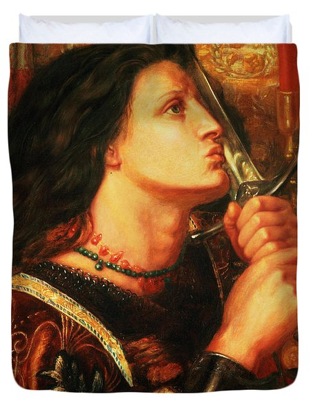 Joan Of Arc Kissing The Sword Duvet Cover by Dante Gabriel Charles Rossetti