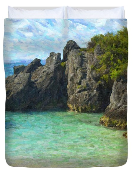 Duvet Cover featuring the photograph Jobson Cove Beach by Verena Matthew