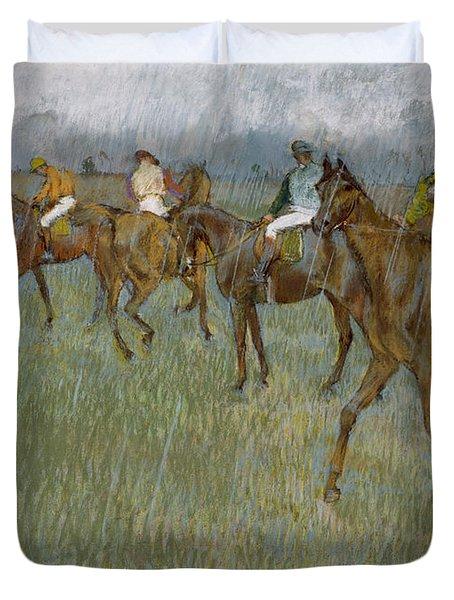 Jockeys In The Rain, 1886 Duvet Cover