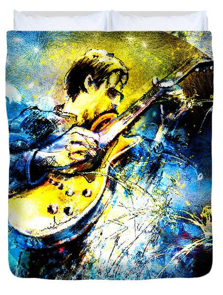 Joe Bonamassa 01 Bis Duvet Cover by Miki De Goodaboom