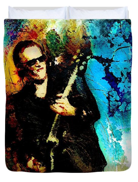 Joe Bonamassa Madness Duvet Cover by Miki De Goodaboom
