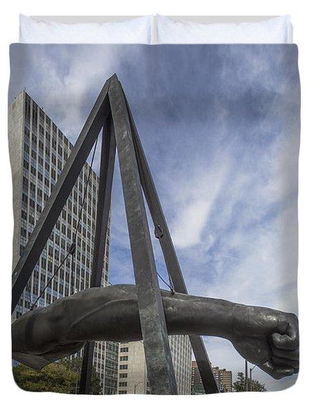 Joe Louis Fist Downtown Detroit  Duvet Cover