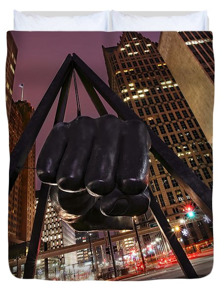 Joe Louis Fist Statue Detroit Michigan Night Time Shot Duvet Cover by Gordon Dean II