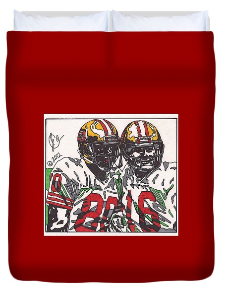 Joe Montana And Jerry Rice Duvet Cover by Jeremiah Colley