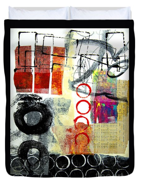 Duvet Cover featuring the mixed media Joggles by Elena Nosyreva