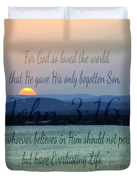 John 3 16 Lake Sunset Duvet Cover
