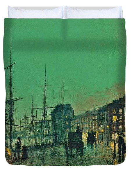 John Atkinson Grimshaw Shipping On The Clyde 1881 Duvet Cover