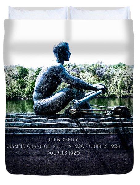 John B Kelly Statue Philadelphia Duvet Cover by Bill Cannon