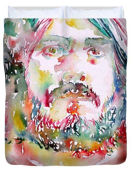 John Bonham Watercolor Portrait Duvet Cover by Fabrizio Cassetta