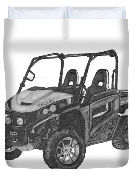 Duvet Cover featuring the drawing John Deere Gator by Patricia Hiltz