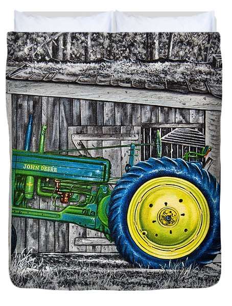 Duvet Cover featuring the painting John Deere Green by Craig T Burgwardt