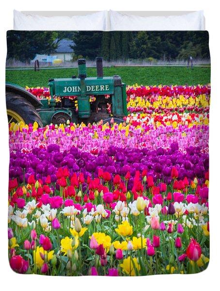 John Deere In Spring Duvet Cover