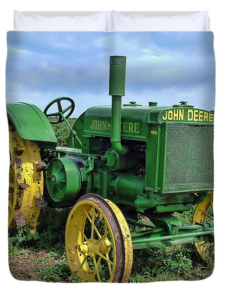 John Deere Tractor Hdr Duvet Cover by Ken Smith