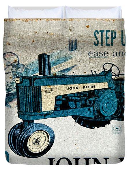John Deere Tractor Sign Duvet Cover by Paul Mashburn