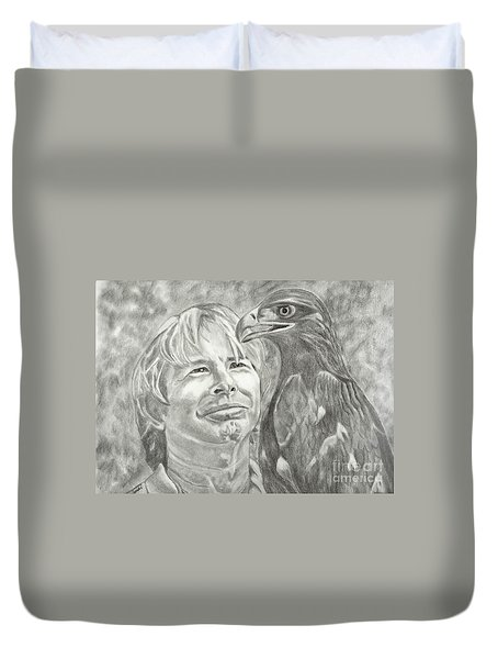Duvet Cover featuring the drawing John Denver And Friend by Carol Wisniewski