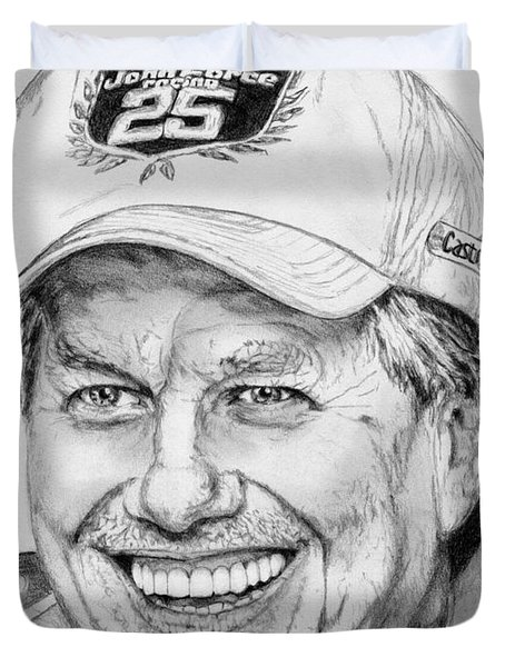 Duvet Cover featuring the drawing John Force In 2010 by J McCombie