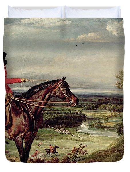 John Levett Hunting In The Park At Wychnor Duvet Cover by James Ward