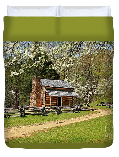 Duvet Cover featuring the photograph John Oliver's Cabin by Geraldine DeBoer