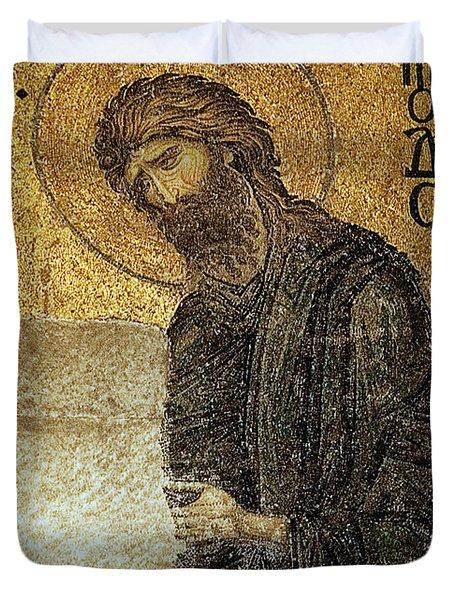 John The Baptist-detail Of Deesis Mosaic  Hagia Sophia-judgement Day Duvet Cover