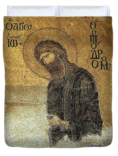 John The Baptist-detail Of Deesis Mosaic  Hagia Sophia-judgement Day Duvet Cover