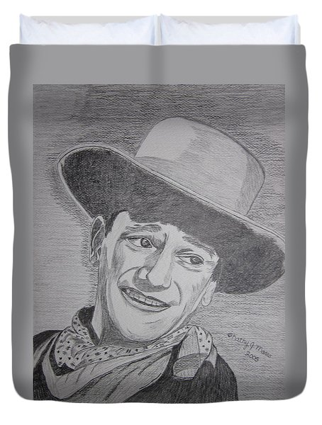 Duvet Cover featuring the painting John Wayne by Kathy Marrs Chandler