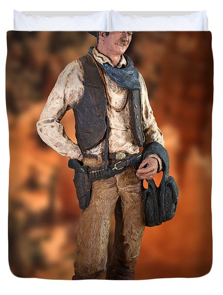 John Wayne The Cowboy Duvet Cover by Thomas Woolworth