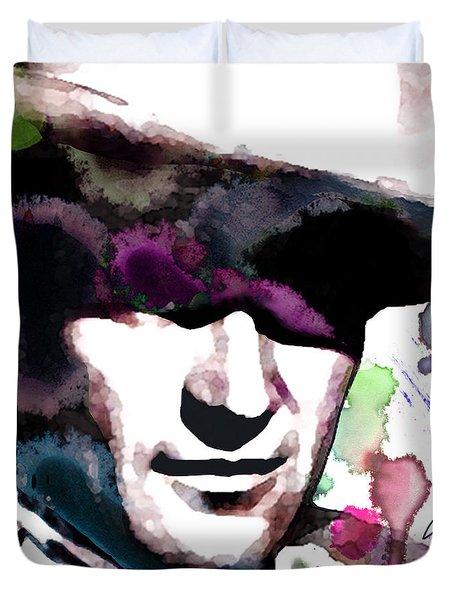 John Wayne Water Color Pop Art By Robert R Duvet Cover